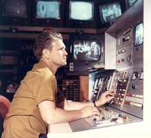Inside the KCRA control room with Ray Denton during the 1960s.