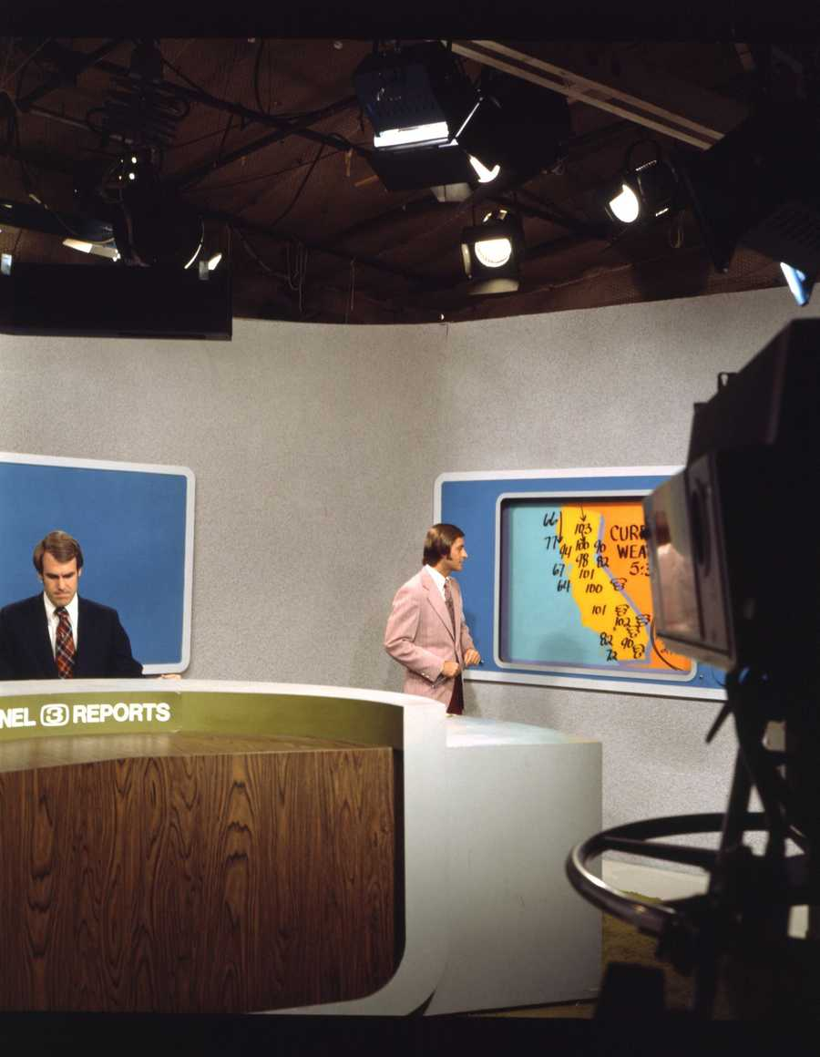 On the weather set during the mid-1970s with KCRA's Tom DuHain on the right.