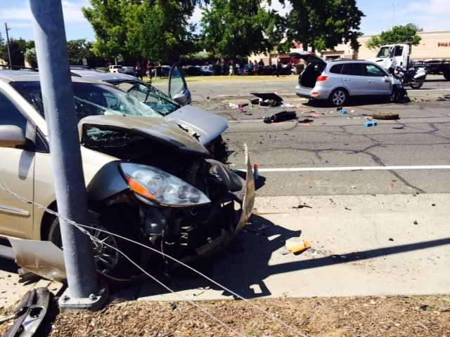 One person was killed and six others were taken to the hospital Sunday in a multiple-vehicle crash on Alta Arden in Sacramento.