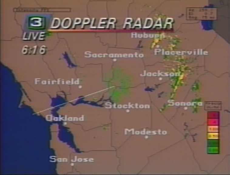 1992: Weather reporting at KCRA 3 takes a leap forward with the introduction of Doppler radar.