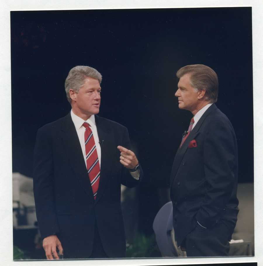 1993: KCRA takes the national stage during President Bill Clinton's first term. Stan Atkinson listens and asks crucial questions during the president's second national Town Hall broadcast.