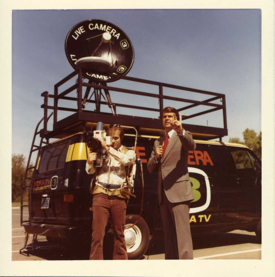 KCRA's Stan Atkinson reporting in front of a live truck in 1978.