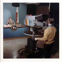 Then California governor Ronald Reagan on the KCRA set during the mid-1970s.