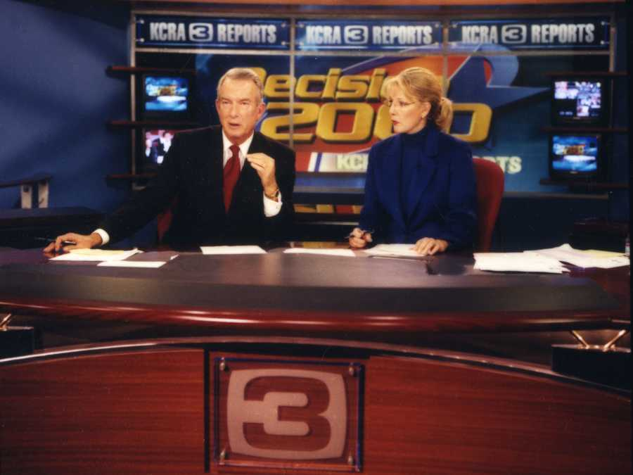 Anchors Dave Walker and Lois Hart on the set of KCRA's Decision 2000.