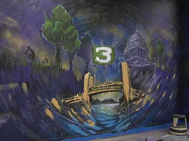 """Sacramento artist David Girabaldi painted this mural -- affectionately called the """"mystery mural"""" -- when KCRA's newsroom was remodeled in 2014."""