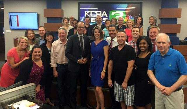 A recent photo of KCRA staff members with VIP visitor Lester Holt, anchor of NBC's Nightly News.