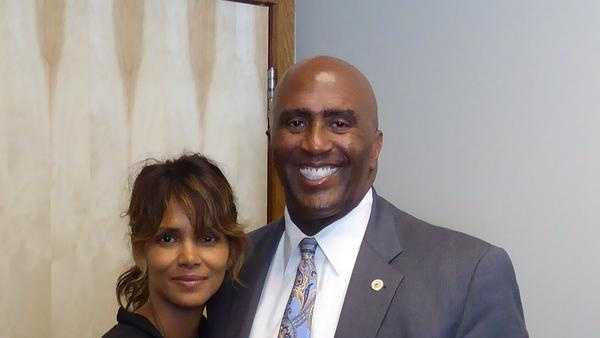 Actress Halle Berry poses with Demoratic Assembly Member Jim Cooper of Elk Grove at the State Capitol on Monday.