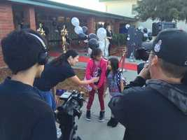 Students heading back to school at Sacramento's Hollywood Park Elementary School got quite a welcome Thursday as they walked onto the campus. (Sept. 3, 2015)