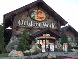 The newest Bass Pro Shops is a 100,000 square-foot building that features outdoor gear, clothing, footwear and nature-themed gifts for those who enjoy fishing, boating, camping, hunting and hiking.