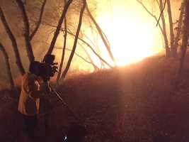 KCRA photographer Jorge Velasquez was on the front line capturing the huge flames burning in Mokelumne Hill. The crew stayed cautious and safe in a large open area with a few fire crews working nearby. (Sept. 11, 2015)