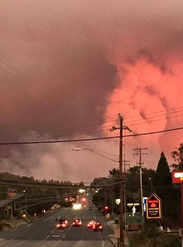 This photo, taken from Ione, shows the billowing and eerie smoke cloud looming over the region from the wildfire.