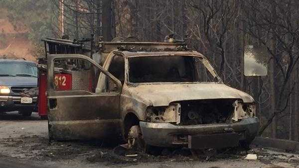 Cal Fire is investigating why one of their trucks was burned on Montgomery Drive as crews battled the Butte Fire. No injuries were reported. (Sept. 11, 2015)