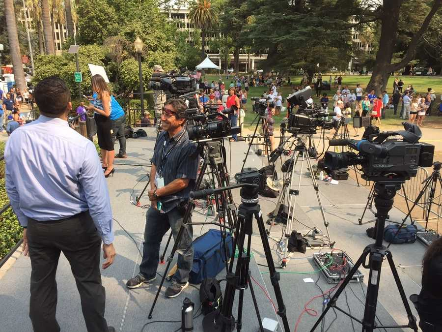 Lots of television crews from local media as well as international media were on hand to witness the parade. (Sept. 11, 2015)