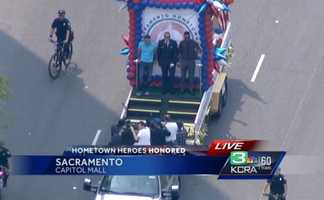 Alek Skarlators, Spencer Stone and Anthony Sadler were honored with a parade along Capitol Mall in Sacramento for their heroic acts in Europe. (Sept. 11, 2015)