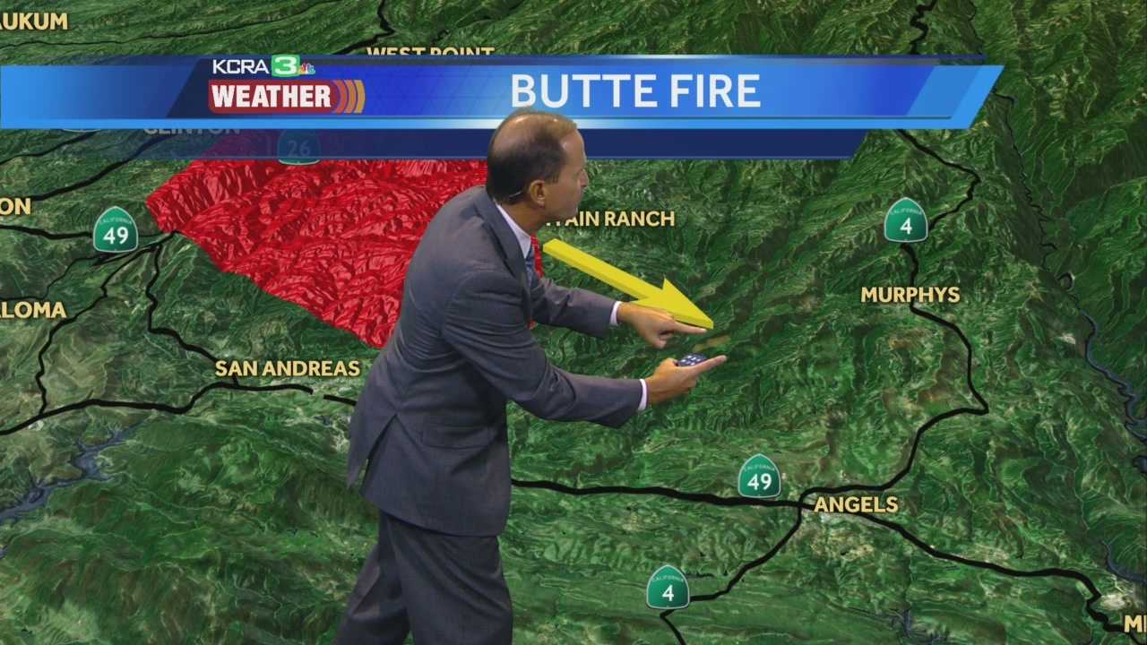 KCRA chief meteorologist Mark Finan takes a look at where the Butte Fire is currently burning, and where it is headed.