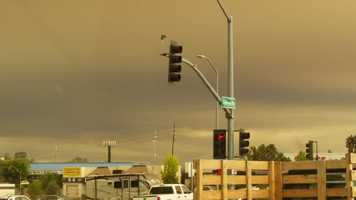 Smoke from the Butte Fire drifts above the town of Shingle Springs. (Sept. 11, 2015)