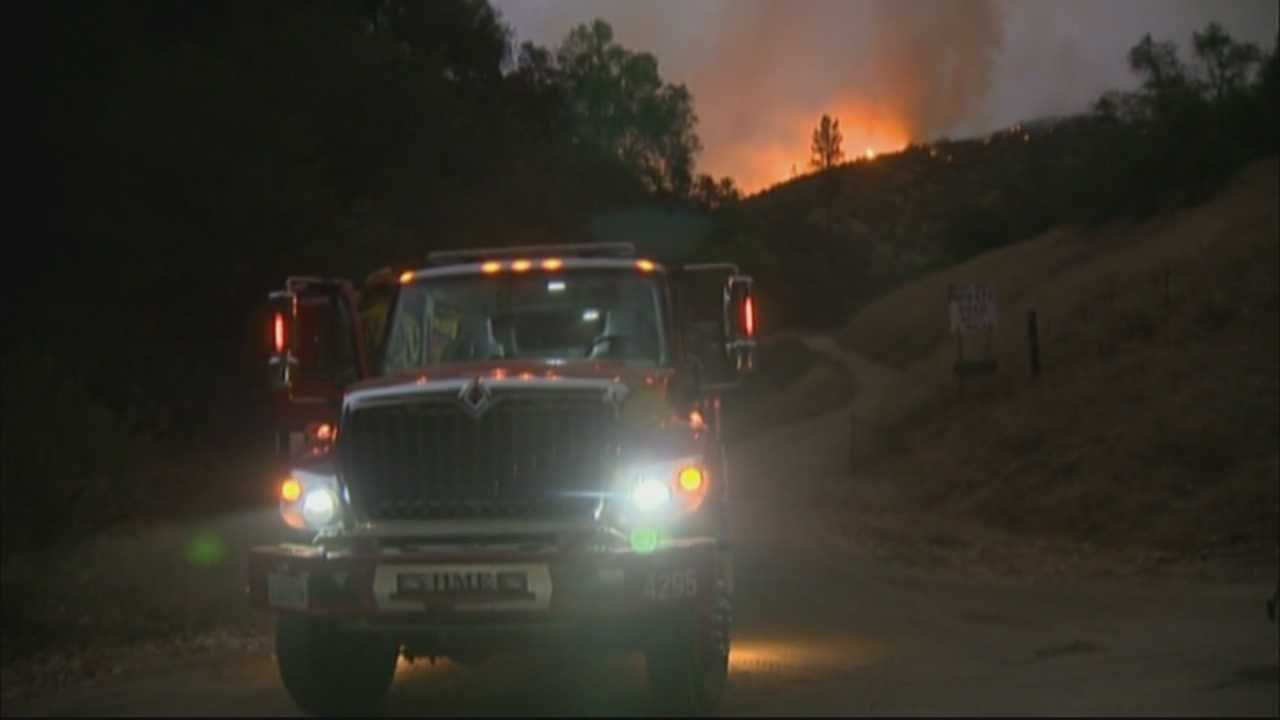 The so-called Butte Fire, which was fueled by triple-digit temperatures, expanded Friday in Calaveras and Amador counties.