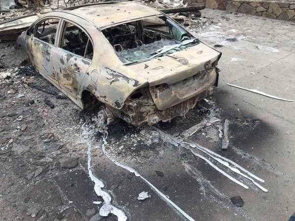 "Only the shell of a car was left after the Valley Fire ripped through Middletown. ""This is what happens to aluminum rims in a fire,"" KCRA's Brian Hickey tweeted. (Sept. 14, 2015)"