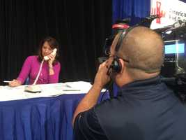 KCRA 3 anchor Edie Lambert spends some time on the phone with donors.