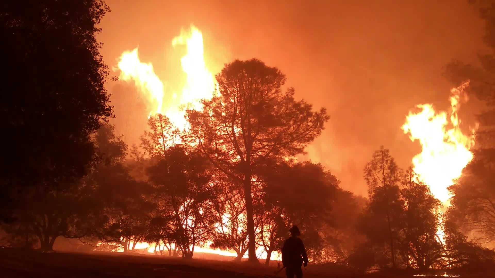A Sac Metro fire captain helping to battle the Butte Fire shot this intense video as the fire front came through  Butte Mountain Road in Amador County.