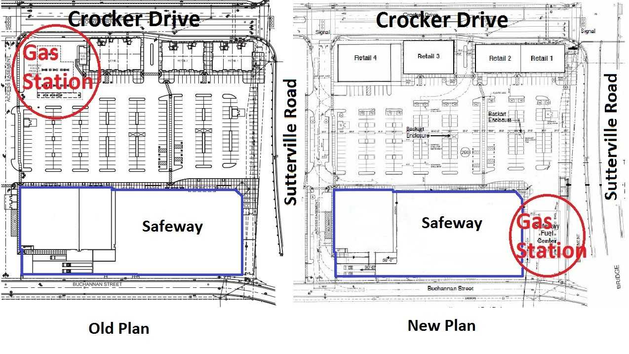 The new proposal relocates the gas station to a spot adjacent to a future Safeway supermarket.