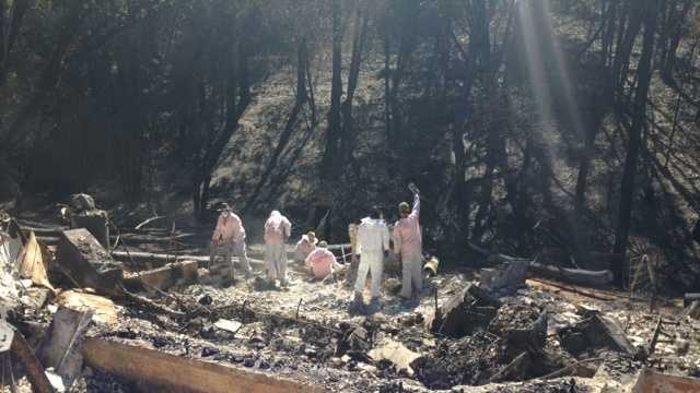 Hazmat volunteer crews help burned out survivors of the Butte Fire. (Sept. 23, 2015)