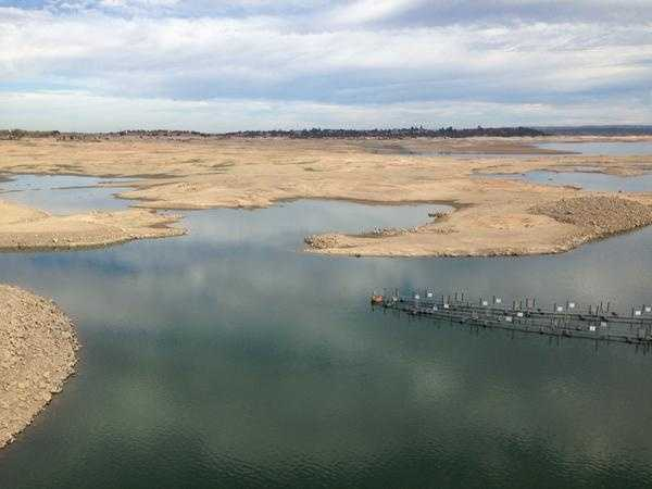 Ten pipes created to pump water over Folsom Dam in case Folsom Lake water levels fall below the city's intake were connected to pump barges on Thursday, Sept. 24, 2015.