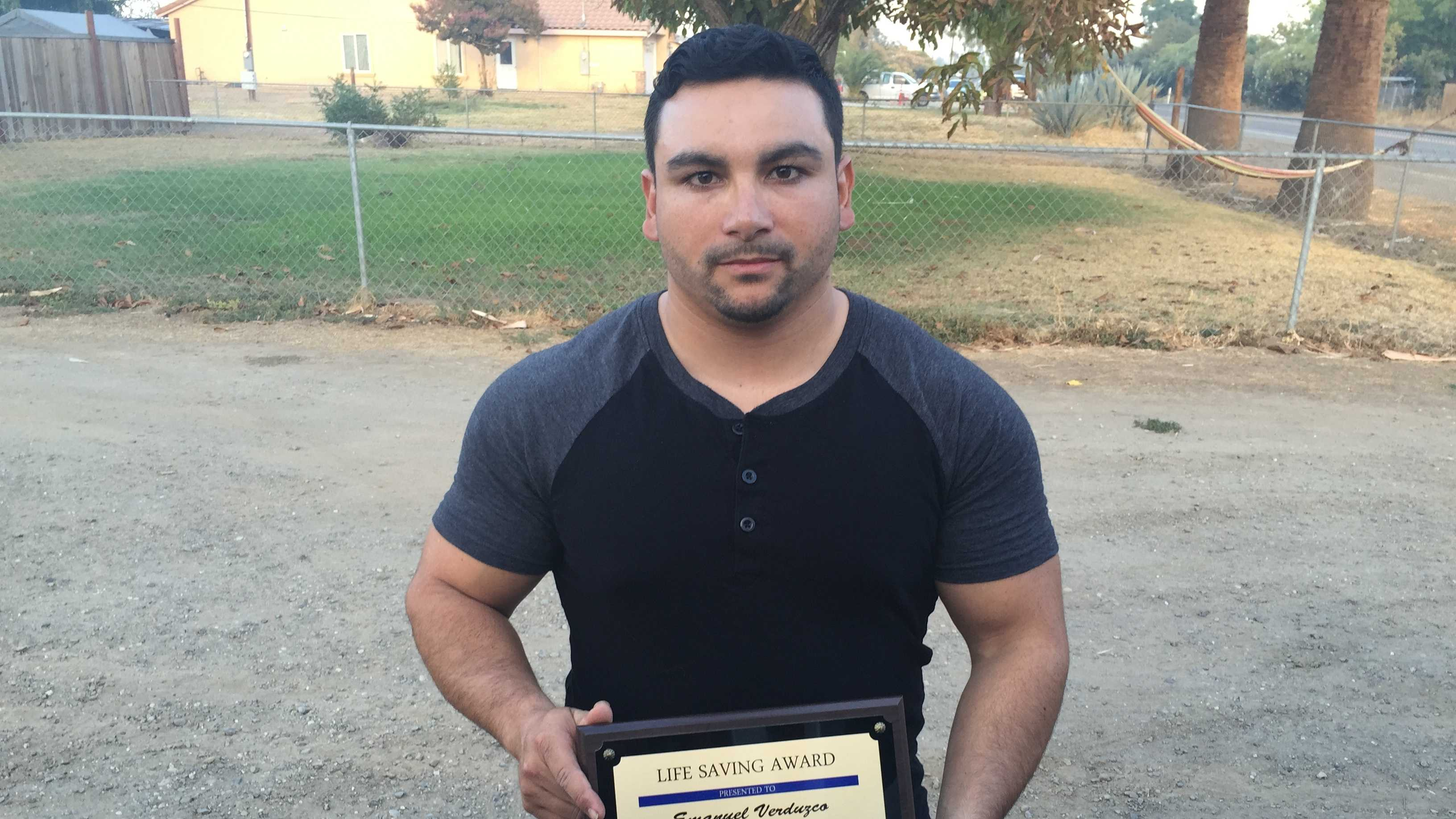Emanuel Verduzco, 28, of Yuba City, assisted officers in carrying the victim man to safety.