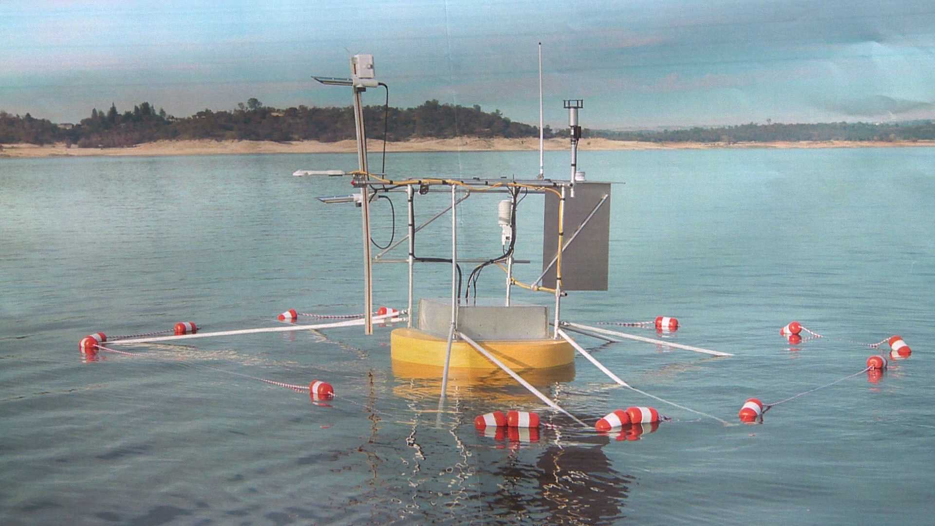 A buoy probe on Folsom Lake is measuring how much water is lost through evaporation.