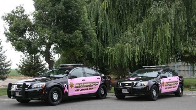 Two San Joaquin County Sheriff's Office patrol cars were wrapped in pink for Breast Cancer Awareness Month.