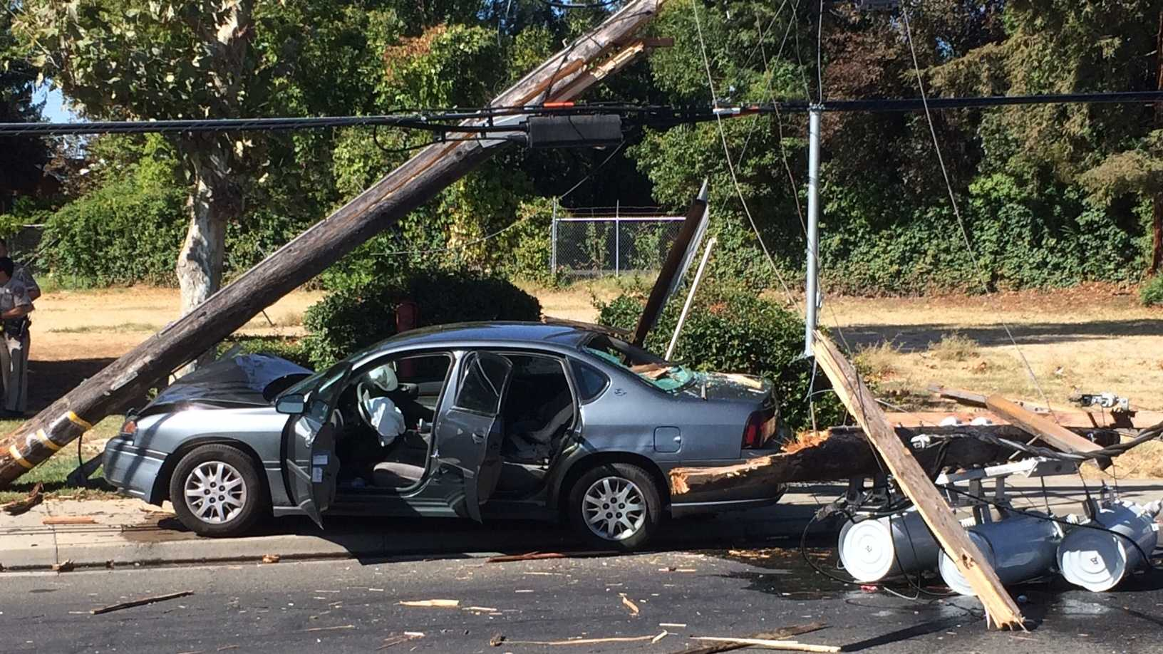 California Highway Patrol are investigating whether drugs or alcohol played a role in a single-vehicle crash in Arden on Friday, Oct. 2, 2015. CHP said the driver veered off the road and hit the power pole.