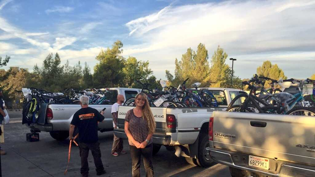 "A woman called the ""Bike Angel"" donated 200 bikes to victims of the Valley Fire."