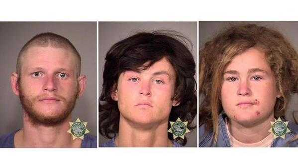 Morrison Haze Lampley (LEFT), Sean Michael Angold (MIDDLE) and Lila Scott Alligood (RIGHT) were arrested in October 9, 2015, in connection to two deaths in the San Francisco area.