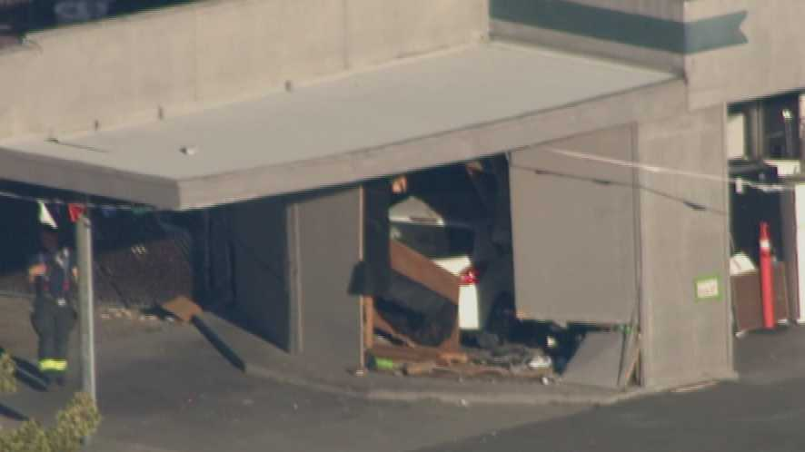 A vehicle crashed into a north Sacramento building in the the 2500 block of Del Paso Boulevard on Monday, Oct. 12, 2015.