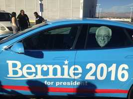 Democratic presidential candidate Bernie Sanders' mobile vehicle, known as the BernMachine. (Oct. 13, 2015)