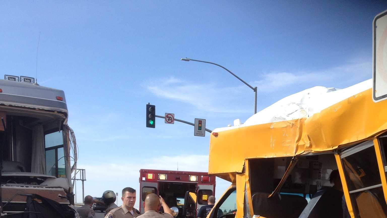 A RV and a Elk Grove school bus crashed on Wednesday, Oct. 14, 2015 the intersection of the southbound Highway 99 exit and Cosumnes River Boulevard.