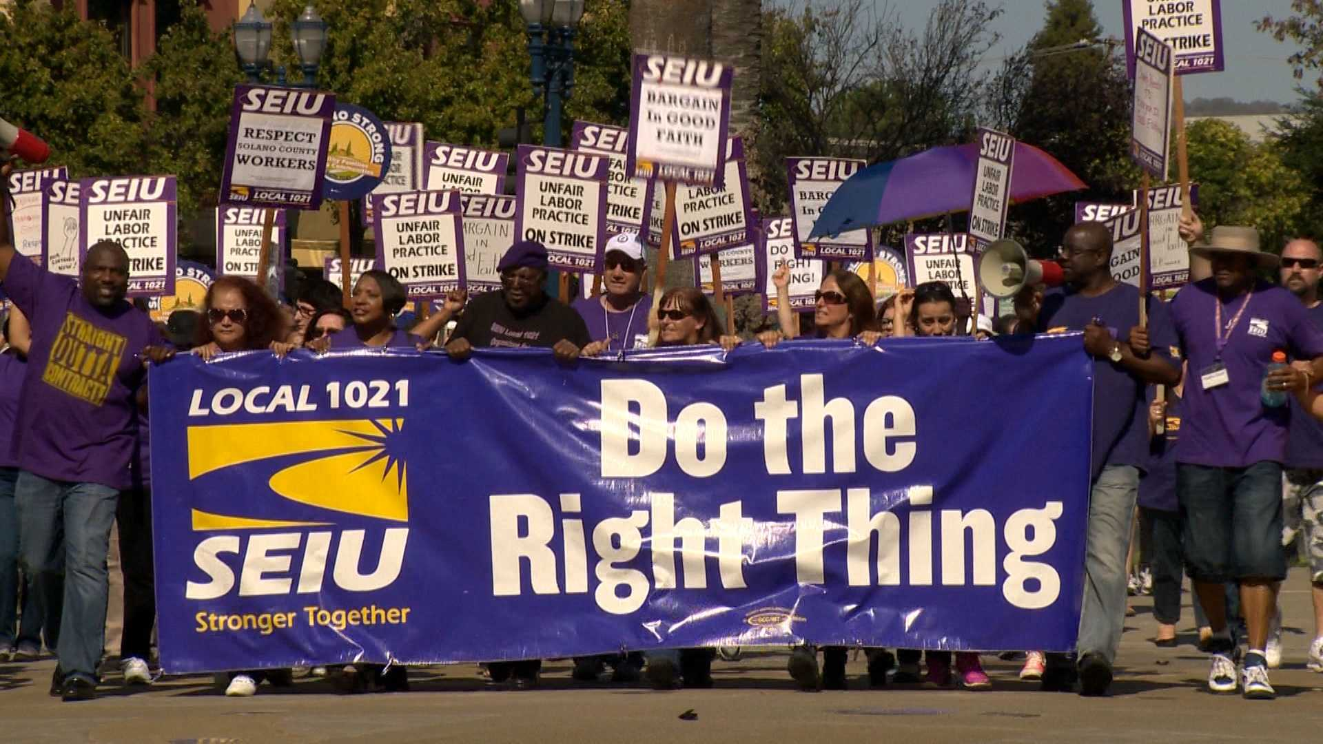 Between 700 to 1,000 Solano County employees went on strike on Wednesday, Oct. 14, 2015, and marched to the county administration building in Fairfield.