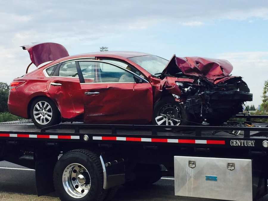 A California Highway Patrol officer was inside his patrol car when it was struck on Highway 99 near Stockton. (Oct. 15, 2015)