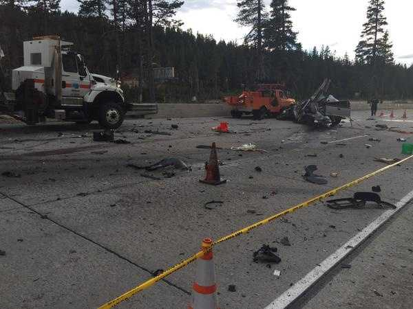 The Caltrans vehicles were parked on the side of westbound Interstate 80 near Donner Lake Road.
