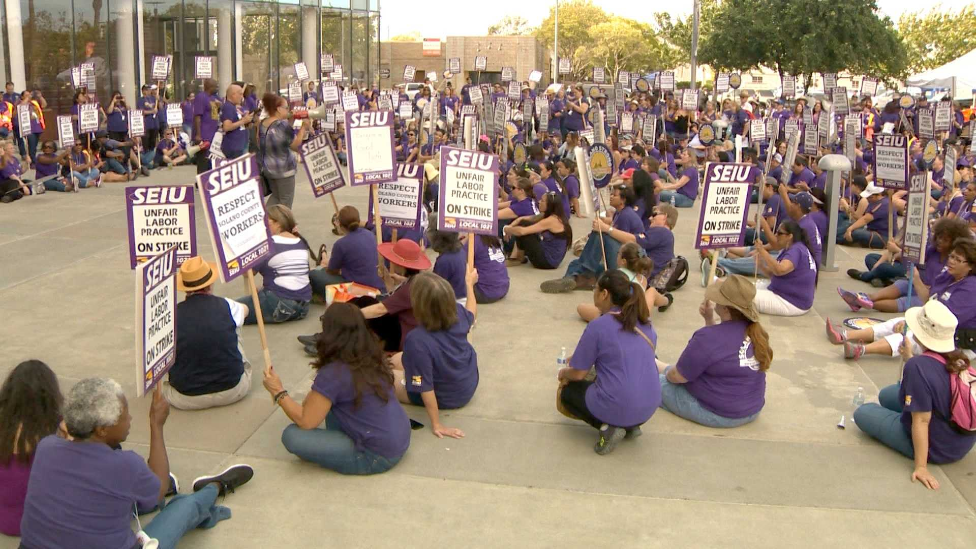 About a 1,000 picketers were outside the Solano County administration building on Thursday, Oct. 15, 2015, demanding  a new contract.