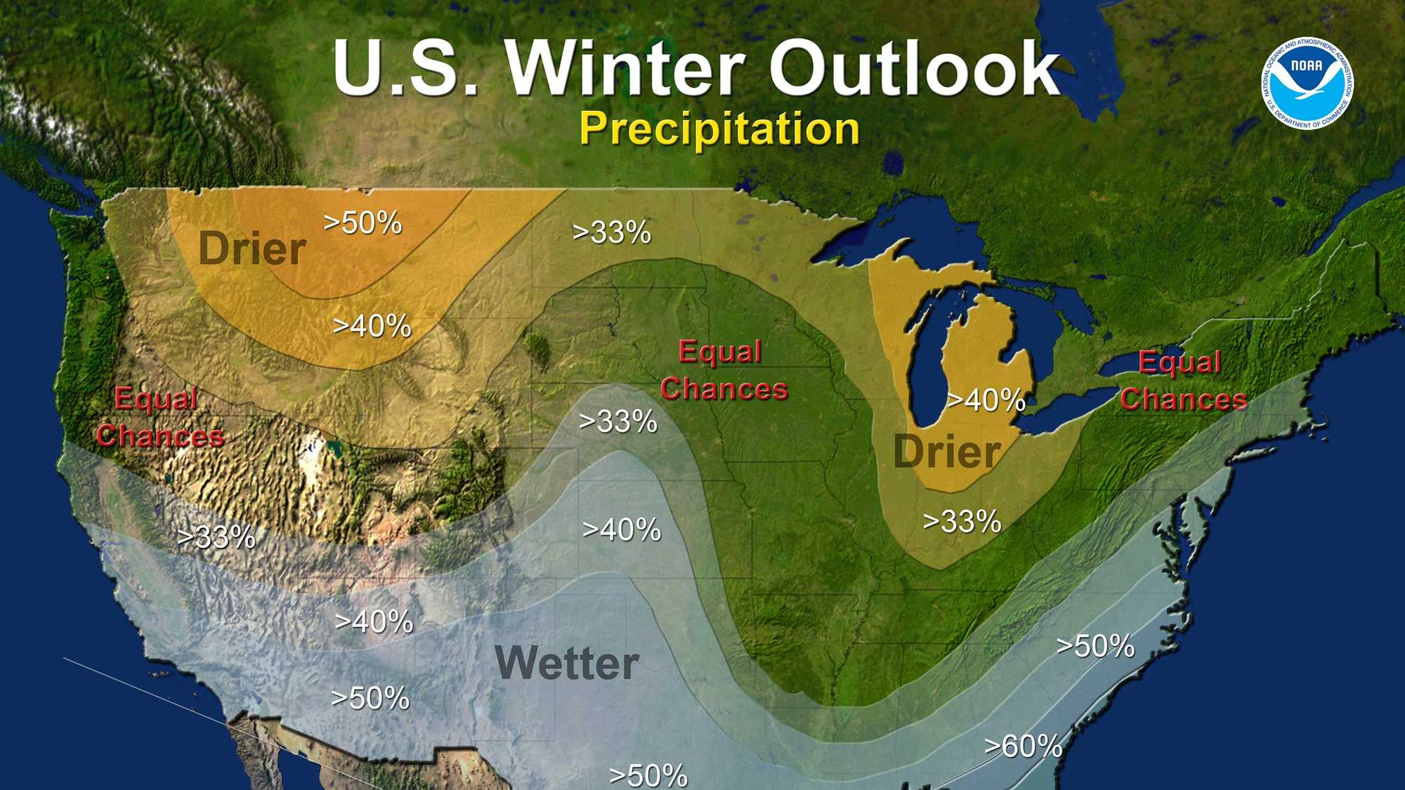National Oceanic and Atmospheric Administration's outlook for winter released on Thursday, Oct. 15, 2015.