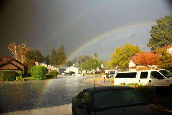 Rainbow seen from KCRA's viewer home. Photo was shared by Kel Rabold on Sunday, Oct. 18, 2015.