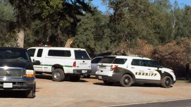 The Calaveras County Sheriff's Department investigates the scene of a shooting in Railroad Flats. Three people were found shot and killed on Tuesday, Oct. 20, 2015.