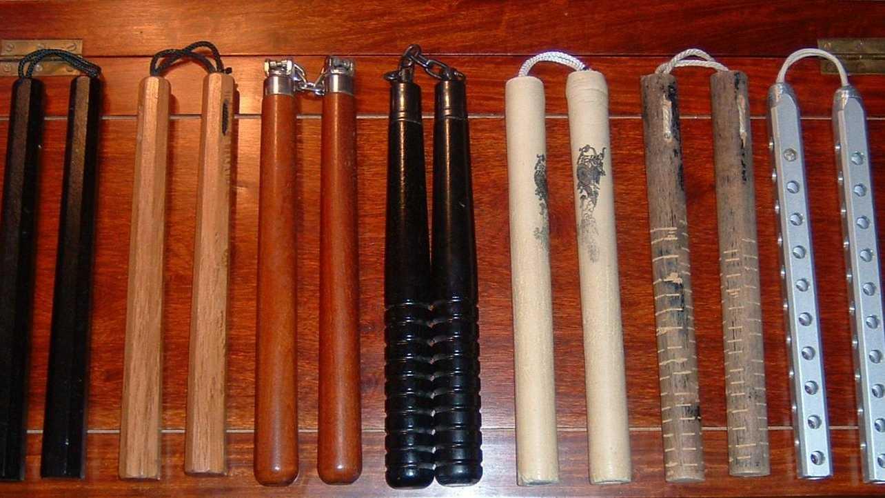 Various types of nunchaku.
