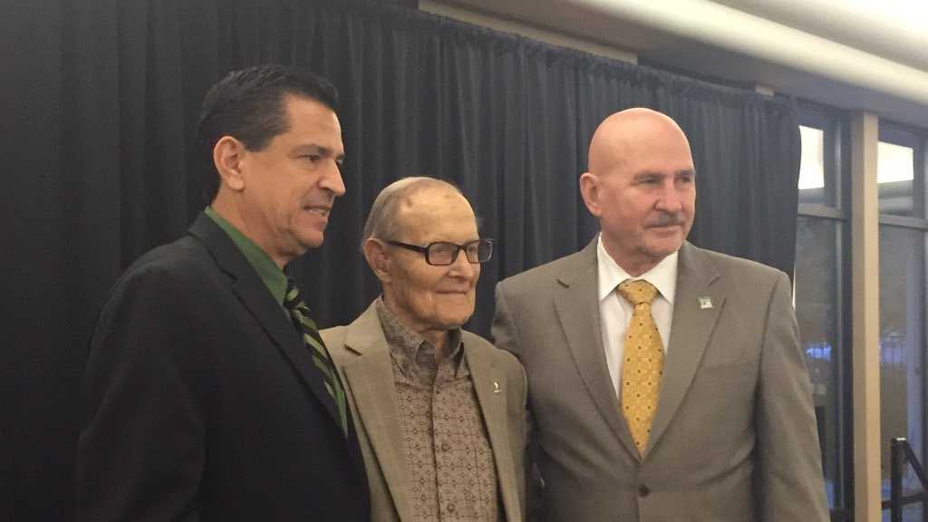 Ernest Tschanne poses for photos at an event Tuesday, Oct. 27, 2015, honoring the 90-year-old philanthropist for his donation to for the Sacramento State arena.