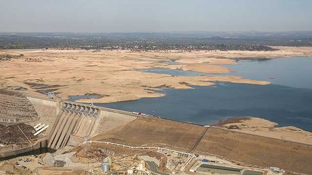 These new photos taken Oct. 23 by the California Department of Water Resources show frighteningly low water levels at Folsom Lake and Lake Oroville.