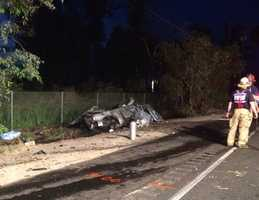 Crews responded to the crash on the highway at Hamilton Road.