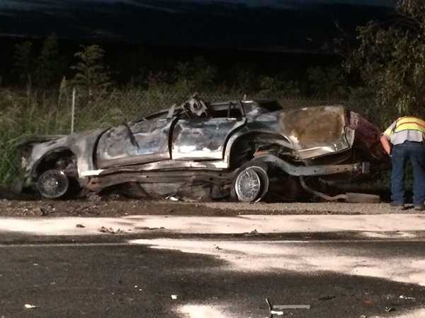 One man was killed in the crash. A man and a woman were taken to the hospital with major injuries.