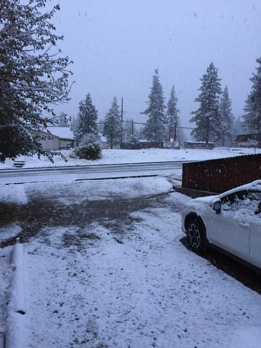 Snow fell Monday in Portola, which is at about the 5,000-foot elevation level. (Nov. 2, 2015)