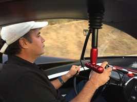 Bob Goldsand drives the Batmobile in El Dorado Hills.